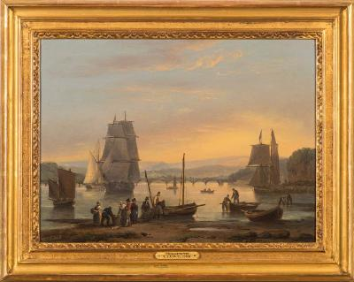 Thomas Luny [1759-1837] - Teignmouth; figures on a shore, coastal craft and Shaldon Bridge beyond,- signed and dated 1828 oil on panel, 30 x 40cm.