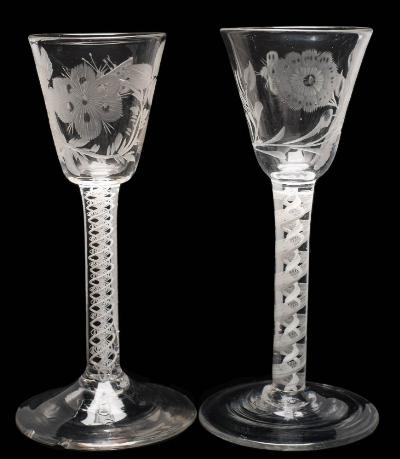 Two English Wine Glasses of Jacobite Interest