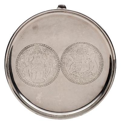 Sale FS45; Lot: 0153: A George I Irish silver salver, no maker's mark, Dublin, 1727 of plain circular outline engraved with a medallion depicting the obverse of the George I Great Seal, together with another medallion of the Royal Coat of Arms, raised on later applied scroll feet, bearing LAO marks for 2019, 30cm diameter, 900gms, 28.93ozs.
