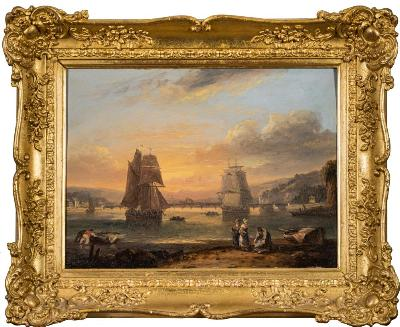 Sale FS45; Lot: 0366: Thomas Luny [1759-1837] - Shaldon Bridge, Teignmouth, Devon,- signed and indistinctly dated bottom left oil on panel 29.5 x 40cm.