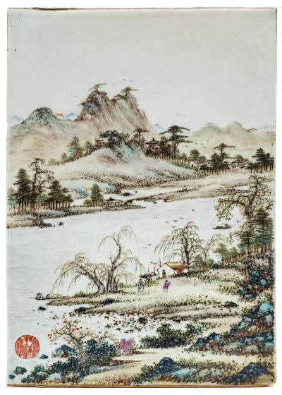 A Chinese porcelain panel of rectangular form decorated in famille verte enamels with figures in an extensive lakeside landscape with mountains beyond, circular iron red seal 'Puye-ting zhi hua' and inscribed verso 'Liuyin chuidiao' (Fishing with a rod in the shade of willow trees), Republican, 35.5 x 25 cm.
