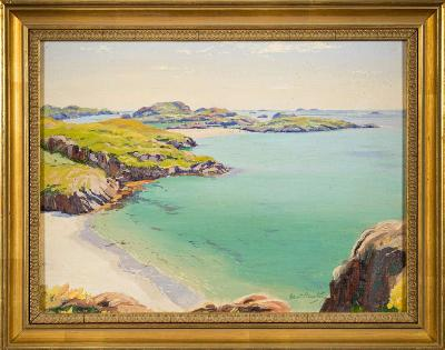 Robert Houston [1891-1940] - Mull Shores,- signed bottom right, inscribed on the reverse oil on board, 29 x 39cm.