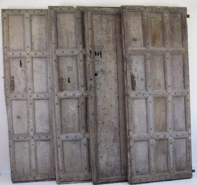 Three antique oak moulded panelled doors with iron studding, 190cm (6ft 2 3/ - Bearnes Hampton & Littlewood (Furniture Auctioneers): Three Antique