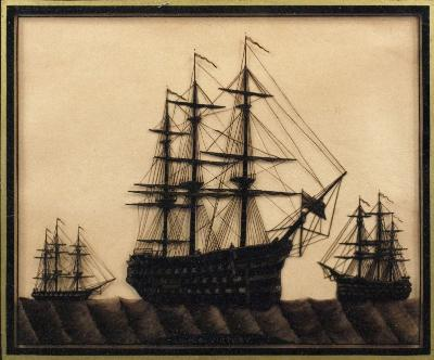 A 19th Century reverse-glass silhouette picture of 'H MS. Victory', set at anchor with standing and running rigging in the company of other shipping, inscribed as per title in a verre eglomise frame 29 x 245cm.
