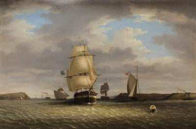 Sale MA14; Lot: 0231: George Mounsey Wheatley Atkinson [1806-1884] - Queenstown, Cork, picking up the pilot - signed G Atkinson and dated 1842 bottom right oil on canvas 60 x 90cm.