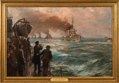 Sale MA16; Lot: 0899: Bernard Finegan Gribble [1873-1962] - The Surrender of the German High Seas Fleet at Scapa Flow, 21st November 1918- signed oil on canvas 49 x 74.5cm.