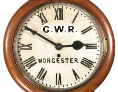 Sale SC14; Lot: 0629: A GWR wall timepiece, inscribed GWR Worcester and indistinctly R & SBR (Rhondda and Swansea Bay Railway).