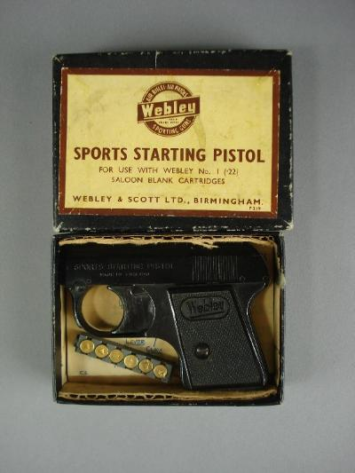 A Webley Sports Starting Pistol, .22 calibre, in original box with instructions.