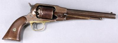 A Remington 'New Model' 1858 Patent Army .44 six shot percussion revolver No 79041, the single action 61/4 inch octagonal barrel, brass trigger guard and wooden grips, stamped 'Patented Sept 14th 1858 E Remington & Sons Ilion, New york USA New Model'.
