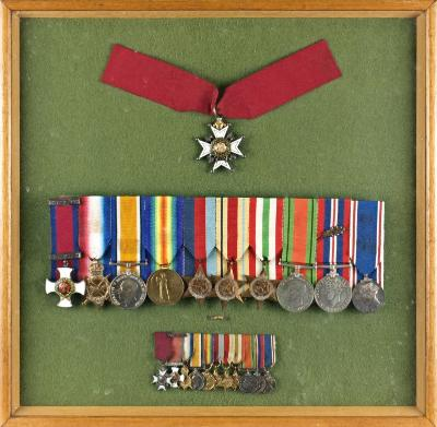 Sale SC16; Lot: 0135: A fine medal group awarded to Major General Horace Leslie Birks CB, DSO (1897-1985), Military KCB Star, DSO, 1914-15 Star, War Medal, Victory Medal, 1939-45 Star, Africa Star, Italy Star, Defence Medal, War Medal 1939-45 with oak leaf, Coronation Medal 1937, with corresponding miniature group and Caterpillar Club badge, mounted in a glazed case.