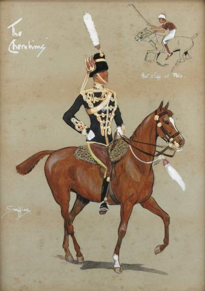 Charles Johnson Payne (Snaffles) [1884-1967] - 'The Cherubims', 11th Hussars (Prince Alberts Own) - showing front view of a Mounted Hussar with vignette 'Hot Stuff at Polo' signed Snaffles bottom left and inscribed with titles pen, ink, watercolour and bodycolour 3325 x 2425cm.