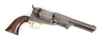 A Colt Dragoon, third pattern single action 6 shot percussion revolver, circa 1850, the 19cm round barrel stamped 'Address Saml Colt, New York City', the frame stamped 'Colts Patent', brass trigger guard and backstrap, walnut grips, the loading lever with vertical release catch, hammer notch rear sight, matching serial no 14175 throughout.