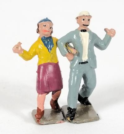 Britains, Lambeth Walk Dancing Couple for the London musical 'Me and My Girl' 45mm, issued in 1939 only the man in white bowler hat, grey suit, the woman wearing a blue beret, yellow jacket and purple skirt.
