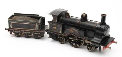 Carette for Bassett-Lowke - a gauge I 2-2-2 Ramsbottom Configuration live steam locomotive and tender 'Lady of the Lake' No 551in black livery with Carette roundel mark, lithograph printed six wheeled tender, circa 1904, length of engine 28cm.