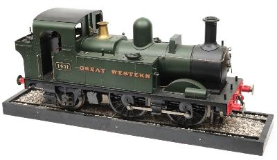 A 5-inch gauge live steam 0-4-2 slab sided tank Locomotive No 1451in GWR livery the lift off cab roof enclosing water gauge, pressure gauge, lever and brakes, overall length 80cm.