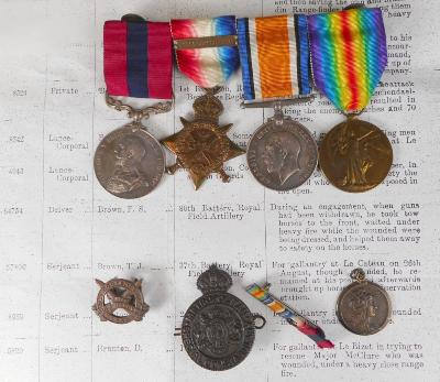 Sale SC24; Lot: 0237: A World War One Distinguished Conduct Medal group of four to 64754 Dvr. FS Brown includes Distinguished Conduct Medal, 1914 'Mons' Star, Campaign and Victory Medal, lacks M ID oakleaf, miniature ribbons, 'Old Contemptable's Association' badge No 2332, Metropolitan Special Constabulary badge and a commemorative pendant, 'France's Day 1917', together with photocopies of London Gazette and medal award.