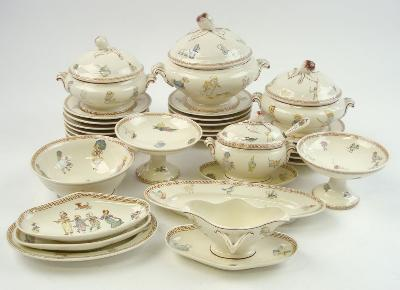 A Sarreguemines creamware doll's dinner and tea set each piece decorated with 'Kate Greenaway' children and toys, comprising eighteen plates, three various dishes, a bowl, two comports, sauce treen, stand and ladle, gravy boat and three lidded dishes [two cracked], printed marks circa 1875-1900, [odd chip].