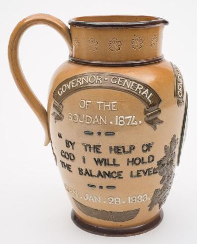 A Doulton Lambeth stoneware commemorative jug for General 'Chinese' Gordon embossed beneath the spout with a portrait and on the flanks Governor General of the Soudan 1874 and Hero of Heroes Khartoum, Betrayed Jan 26th 1885, embossed rosette mark and incised monogram MR, 19cm high.