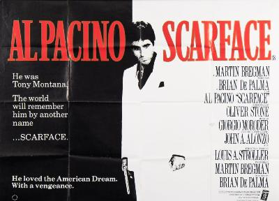 A British quad poster and full set of lobby cards for Al Pachino in 'Scarface'.