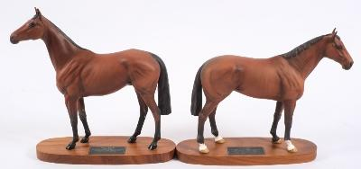 Two Beswick Connoisseur models 'Red Rum' and 'Nijinsky', 32cm and 28cm high respectively.
