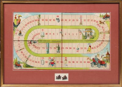 A Framed Late 19th /Early 20th Century Board Game of 'Neues Automobil Spiel'