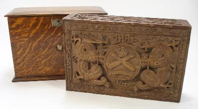 An Early 20th Century Chinese Carved Hardwood Cigar Box with Machine Gun...