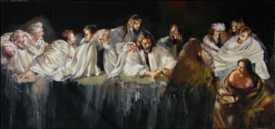 Robert O Lenciewicz (1941-2002) - The Last Supper, oil on canvas, 213 x 425cm.