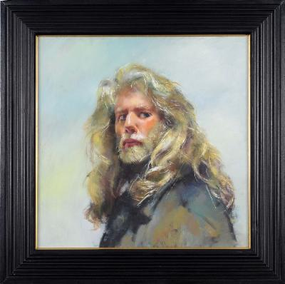 Robert O Lenkiewicz [1941-2002] - Self-Portrait at Private Studio, Priory Road, Lower Compton. 2000- signed twice, inscribed with title and further inscribed 'Non-Project Piece' on the reverse also marked with a red triangle oil on canvas 58 x 58cm.