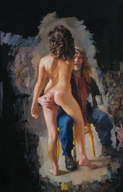 Robert O Lenkiewicz [1941-2002] - The Painter with Esther Dallaway - Project 18. The Painter with Women signed twice and inscribed with title on the reverse oil on canvas 203 x 129cm * Literature. Robert Lenkiewicz: Paintings and Projects. White Lane Press 2006 p.20.