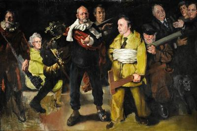 Robert O Lenkiewicz [1941-2002] - The Night Watch - Project 3. Mental Handicap. 1976 oil on canvas 193 x 290cm Originally almost the same size (304 x 426 cm) as Rembrandt's painting of the same name before being cut to manageable size by the artist, the Night Watch was the centrepiece of the Mental Handicap Project in 1976 and was unveiled by Plymouth's Lord Mayor, Arthur Floyd. Concealed behind a vast curtain at one end of the warehouse studio Jacob's Ladder, this deliberately invoked the great unveiling scene in Alexander Korda's 1936 film Rembrandt, which had first inspired Lenkiewicz to become a painter when he saw it on television as a boy. As in Rembrandt's painting, Lenkiewicz is depicting those who 'look after' and are 'responsible for' the vulnerable in our society. Sitters for the painting were drawn from the social services and other care organisations concerned with people with learning difficulties. Left to right: Dr Hans de Rijke; Superintendant Physiotherapist at the Trengweath Spastic Centre, Viv Sloaman; Ron Moore, headmaster at Mill Ford School; Dr David Owen, MP for Devonport and Minister for Health; Bernard Ashley, director of a skills training centre, 'Cockney Jim', a vagrant; Ken Young, Director of Social Services for West Devon.