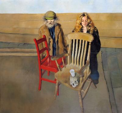 Robert O Lenkiewicz [1941-2002] - Diogenes and Belle at Prayer with Chairs - Project 2. Death and the Maiden. 1974 oil on canvas 196 x 214cm.