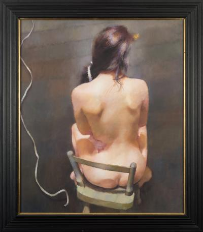 Sale SF21; Lot: 0071: Robert O Lenkiewicz [1941-2002] - Rear View Suzanne,- Project 18. Painter with Women, Observations on the Theme of the Double, St Anthony Theme, Daemon Series, signed and inscribed on the reverse oil on canvas 107 x 92cm.