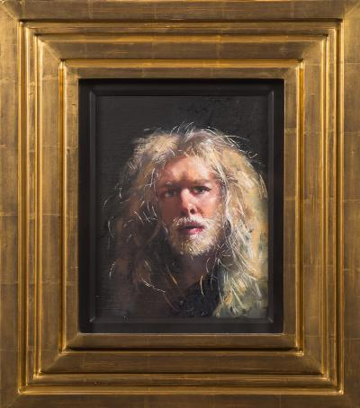 Robert O Lenkiewicz [1941-2002] - Self-Portrait at the House,- signed and inscribed on the reverse oil on board 25.5 x 19cm.