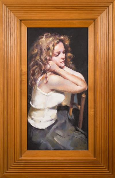 Robert O Lenkiewicz [1941-2002] - Study; Lisa Stokes,- signed and inscribed on the reverse oil on canvas 60 x 29.5cm.