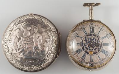 Wilter. London. An 18th century silver pair cased calendar pocket watch, the silver circular dial, 43mm diameter with Arabic and Roman numerals, signed and pierced centre panel, poker hands and date aperture in a plain case and with repouse decorated outer case.