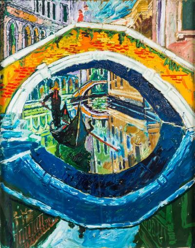Sale SS4; Lot: 0026: John Randall Bratby [1928-1992] - Venice; gondola beneath a Venetian bridge,- signed top left oil on camvas 118 x 92cm.