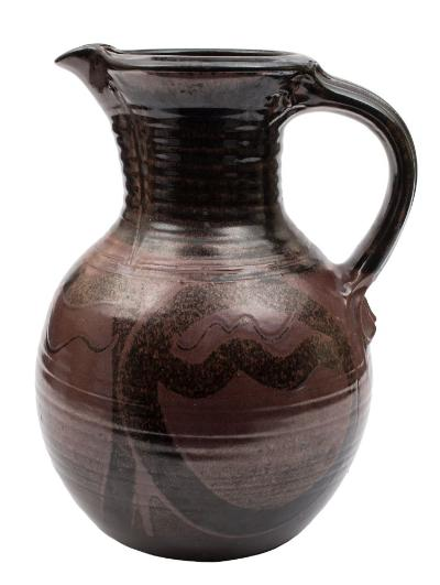 Sale SS4; Lot: 0134: Michael Casson OBE (1925-2003) a large stoneware jug of oviform with raised ribbed neck and ribbed strap handle the lustrous bronze and brown body with brush work motifs and finger trails, glazed filled impressed seal mark beneath handle, 42cm high.