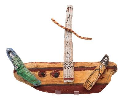 Lydia Corbett [b 1934] - Sail Away; a painted driftwood model,- signed, inscribed and dated '98 on the reverse 35cm long.