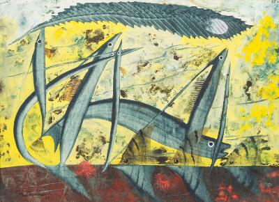 John Tunnard [1900-1971] - Flying Fish and Angel Fish - signed and dated '55 bottom left mixed media 27 x 37cm.